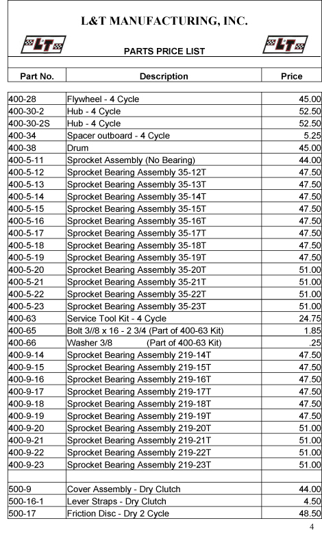 msy parts price list pdf